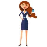 Junge Geschäftsfrau, die Telefon verwendet Elegantes junges Mädchen, das Telefon verwendet Vektor Lizenzfreie Stockbilder
