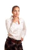 Junge Geschäftsfrau durchdacht Stockbilder