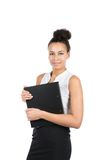 Junge Geschäftsfrau hält eine Datei Lizenzfreie Stockfotos