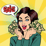 Junge Geschäftsfrau Holding Cash Frau schreit Verkauf Pop-Art stock abbildung
