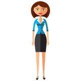 Junge Geschäftsfrau im eleganten Büro kleidet flache Karikaturvektorillustration EPS10 Getrennt auf einem weißen Hintergrund Lizenzfreie Stockfotos