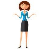 Junge Geschäftsfrau im eleganten Büro kleidet flache Karikaturvektorillustration EPS10 Getrennt auf einem weißen Hintergrund Stockfoto