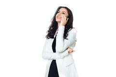 Junge Geschäftsfrau lokalisiert auf Weiß Stockfotos