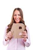 Junge Geschäftsfrau mit Buchstaben AB Stockbild