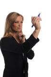 Junge Geschäftsfrau mit Feder Lizenzfreie Stockbilder