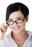 Junge Geschäftsfrau oder Kursteilnehmer in der eleganten Kleidung Stockbilder