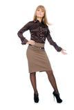 Junge Geschäftsfrau in Shows in voller Länge seine Hand zur Seite Lizenzfreies Stockfoto