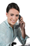 Junge Geschäftsfrau am Telefon, getrennt Stockbild