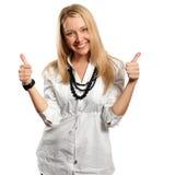 Junge Geschäftsfrau zeigt durchgebratenes Lizenzfreie Stockbilder