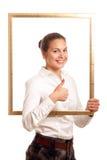 Junge Geschäftsfraufeldoberseite Stockfotografie