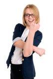 Junge Geschäftsfraufrau, die mit ihrer Faust gestikuliert Lizenzfreies Stockbild