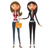 Junge Geschäftsfrauleute, die Hände auf einer erfolgreichen Vereinbarung rütteln Stockbild