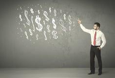 Junge Geschäftsleute mit Hand gezeichneten Dollarzeichen Lizenzfreies Stockbild