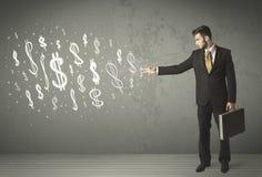 Junge Geschäftsleute mit Hand gezeichneten Dollarzeichen Stockbild