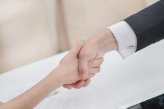 Junge Geschäftsmänner, die Hände mit einander im Geschäft rütteln Stockfotos