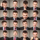 Junge Geschäftsmann-Gesichtsausdrücke zusammengesetzt lizenzfreie stockfotos