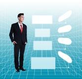 Junge Geschäftsmann-Standing Smiling Full-Körper-Länge, die auf a schaut Stockfoto