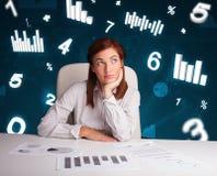 Junge Geschäftsfrau, die am Schreibtisch mit Diagrammen und Statistiken sitzt Lizenzfreie Stockfotos