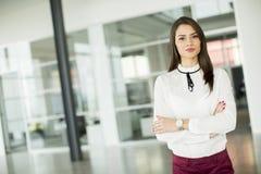 Junge Geschäftsfrau im Büro Stockbilder