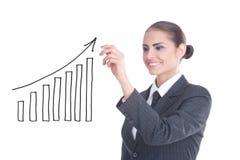 Junge Geschäftsfrau mit einem leeren Diagramm Lizenzfreies Stockbild