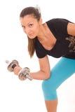Junge gesunde Frauen mit Gewichten Stockfotos