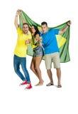 Junge glückliche aufgeregte Gruppe Brasilien-Anhänger mit Flagge und Bieren Stockfoto