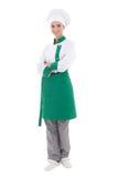Junge glückliche Cheffrau in der Uniform - in voller Länge lokalisiert auf Whit Stockfotografie