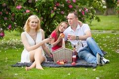 Junge glückliche Familie, die Picknick draußen hat Stockfotografie