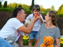 Junge glückliche Familie im Freien Stockfotografie