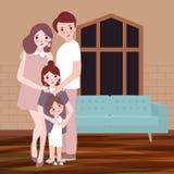 Junge glückliche Familie mit Kindern werfen das Innenwohnzimmer auf, das mit Sofa im Hintergrund hous ist Vektorzeichnungsillustr Stockfoto