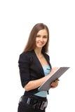 Junge glückliche Frau im Blau Stockbilder