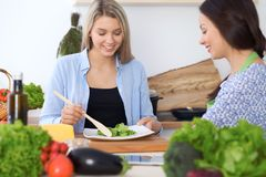 Junge glückliche Frau zwei, die das Kochen in der Küche macht Freundschaft und kulinarisches Konzept Stockbild