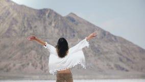 Junge glückliche freie touristische Frau der hinteren Ansicht, die in Richtung zum großen Berg mit den Armen offen am sonnigen Sa stock video
