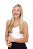 Junge glückliche lächelnde Kursteilnehmerfrau. lizenzfreies stockbild