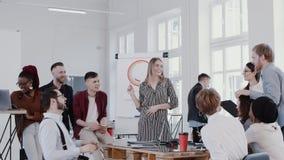 Junge glückliche schöne blonde CEO-Frau, die mit verschiedenen Angestellten im modernen Büro trifft Zeitlupe ROTES EPOS spricht stock video footage