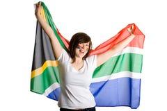 Junge glückliche und freundliche Frau, Südafrika-Markierungsfahne Lizenzfreie Stockbilder