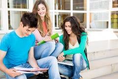 Junge Gruppe Studenten im Campus Lizenzfreie Stockfotografie