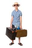 Junge, gutaussehender Mann in den Gläsern mit zwei Taschen bereit zu reisen Stockfotografie