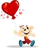 Junge hält Herz geformten Ballon stock abbildung