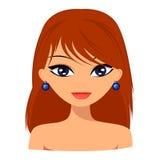 Junge hübsche browm Haarfrau mit nettem Gesicht und reizender Frisur Lizenzfreies Stockfoto