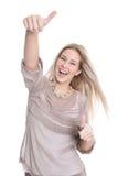Junge hübsche Frau mit den Daumen oben auf weißem Hintergrund Stockfotos