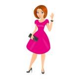 Junge hübsche Frau trägt kleine Schwarze. Stockbilder