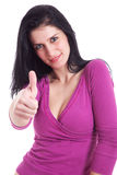Junge hübsche Frauen mit dem Daumen angehoben als Zeichen von Lizenzfreie Stockfotografie