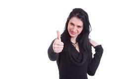 Junge hübsche Frauen mit dem Daumen angehoben als Zeichen von Lizenzfreie Stockfotos