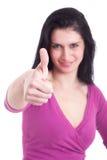 Junge hübsche Frauen mit dem Daumen angehoben als Zeichen von Lizenzfreies Stockfoto
