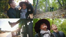 4 in 1: junge hübsche Paare, die ein Datum im Herbstpark haben stock footage