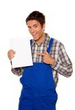 Junge Handwerker - Klempnerarbeit - Bauarbeiter Stockfoto