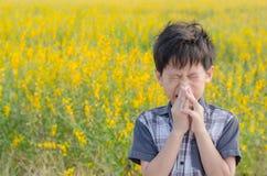 Junge hat Allergien vom Blumenblütenstaub lizenzfreie stockbilder
