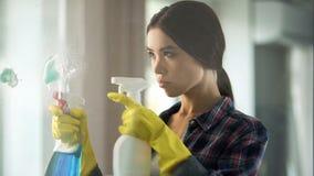 Junge Hausfrau in der Handschuhsprühreinigungsflüssigkeit zur Glasoberfläche, Besetzung Lizenzfreies Stockbild