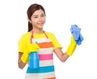 Junge Hausfrau sauber mit Flaschenspray und -lappen Lizenzfreie Stockbilder